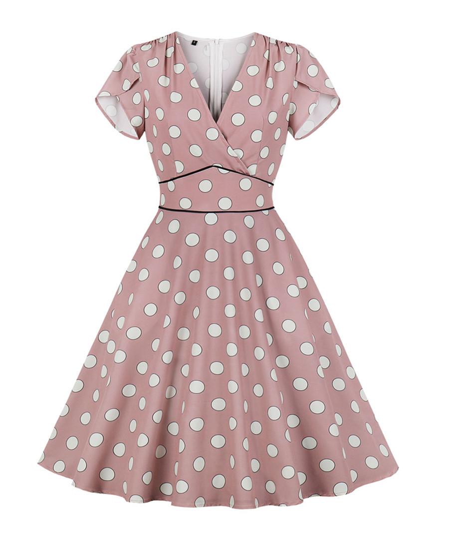 Blush polka dot soft sleeve dress Sale - Mixinni