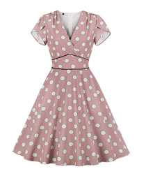 Blush polka dot soft sleeve dress