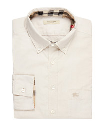 Men's pale trench pure cotton shirt