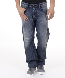 Waykee dark wash cotton relaxed jeans