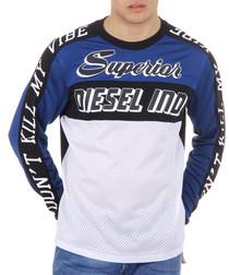 T-Gregor blue & white contrast jumper