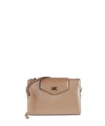 bronze-tone leather crossbody bag