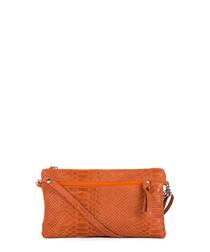 Orange moc-croc leather crossbody