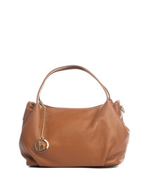 Cognac leather shopper