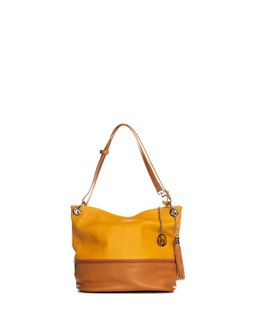 Yellow & cognac leather shoulder bag Sale - lia biassoni