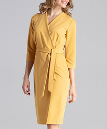 Mustard tie-waist wrap dress