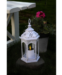 Ambra white solar lantern