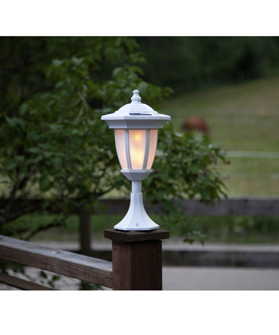 white flame-effect solar lantern 63cm Sale - solar lighting