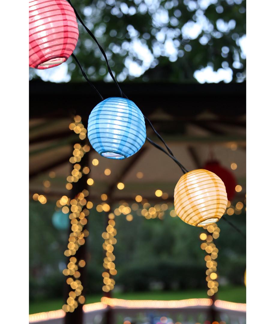 Fabric coloured lantern chain 4.5m Sale - solar lighting