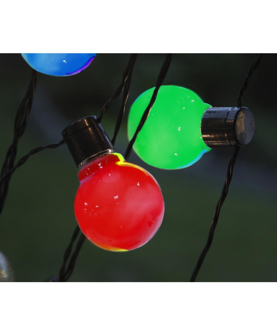 16-LED coloured bauble chain 4.5m Sale - solar lighting