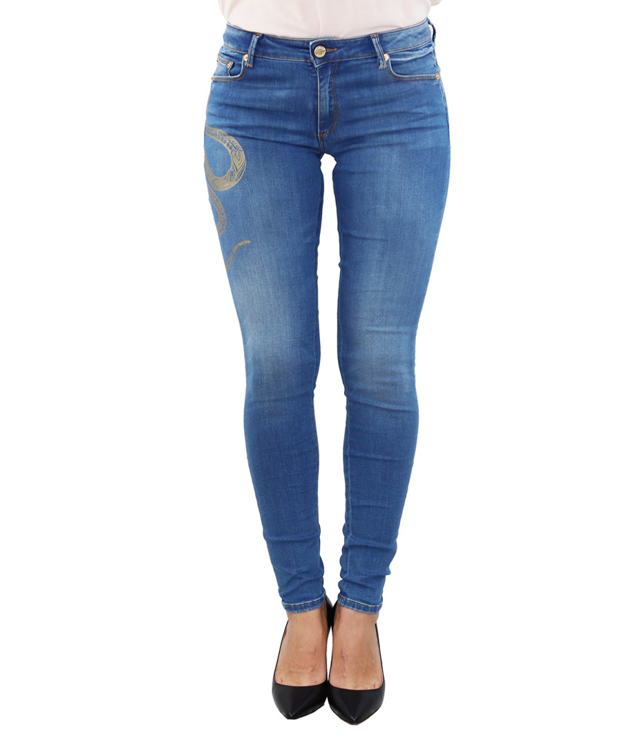 mid wash cotton skinny jeans Sale - roberto cavalli