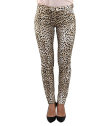leopard print cotton skinny jeans