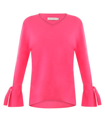 Hot pink pure cotton bell sleeve top