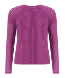 Pink lilac mohair blend ribbed jumper