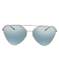 silver-tone triangle pilot sunglasses