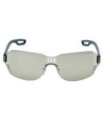 gunmetal frameless sunglasses