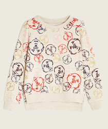 Doodle white pure cotton hoodie