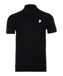 Black pure cotton logo polo shirt