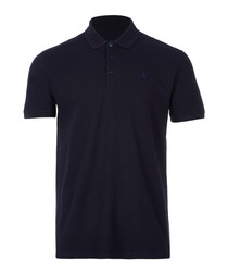Blue pure cotton polo shirt