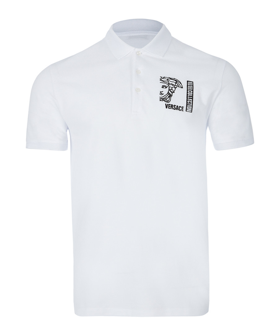 Optical white graphic polo shirt Sale - versace collection