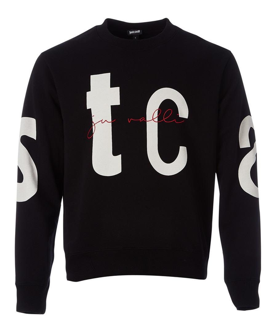 Black typography print sweatshirt Sale - JUST CAVALLI