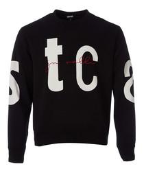 Black typography print sweatshirt