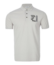 Grey logo crest polo shirt