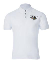 White logo print polo shirt