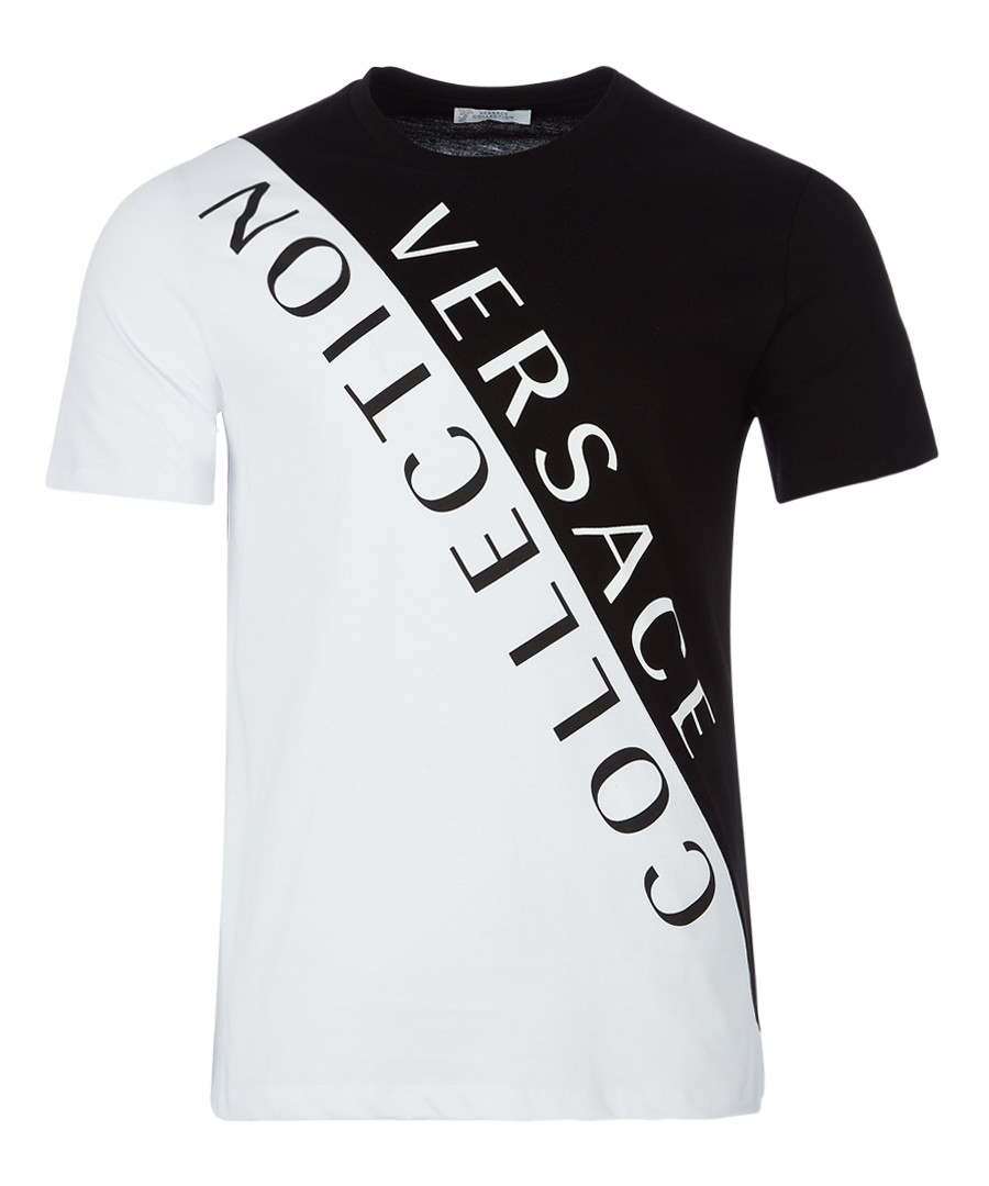 White & black logo contrast T-shirt Sale - versace collection