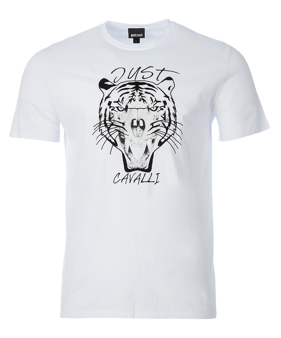 White tiger print T-shirt Sale - just cavalli