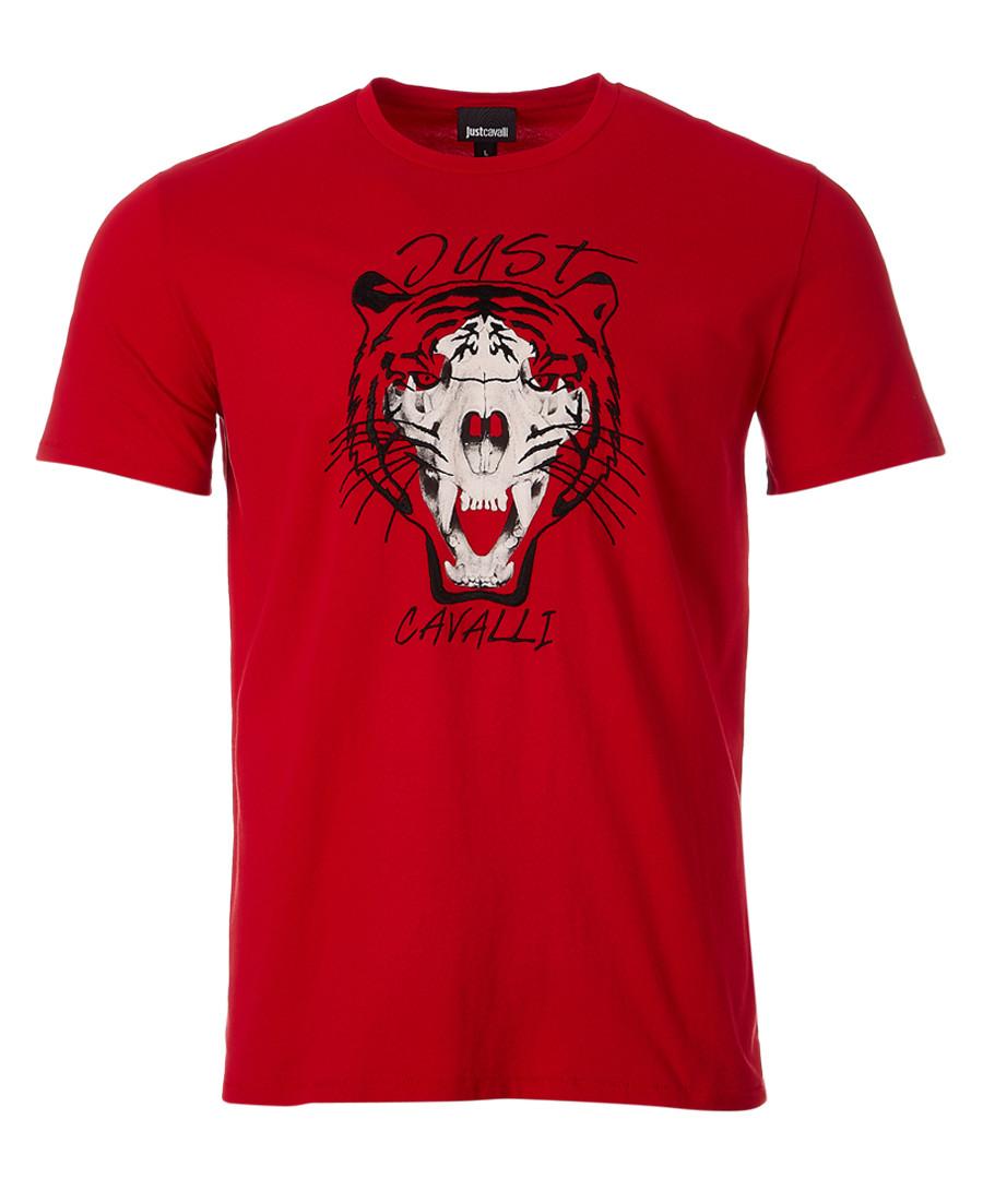 Red tiger print T-shirt Sale - just cavalli