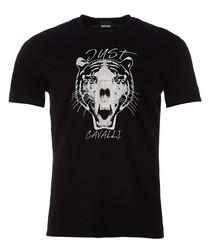 Black tiger print T-shirt