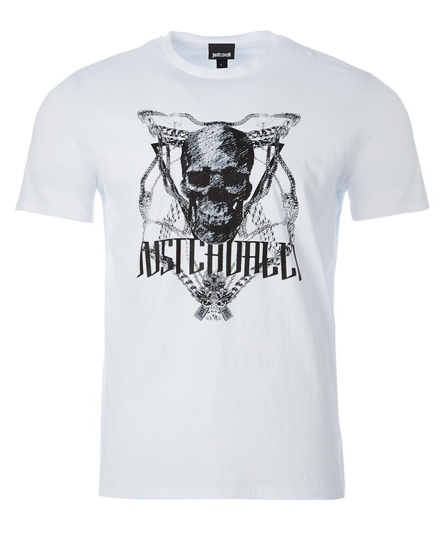 White skull print T-shirt Sale - just cavalli