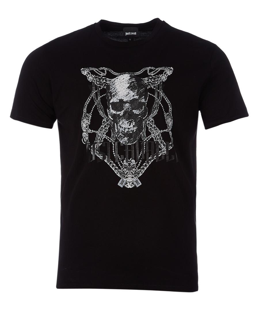 Black skull print T-shirt Sale - just cavalli