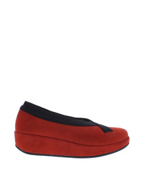 Bobi red leather slip-ons