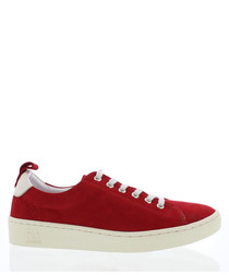 red suede classic sneakers