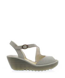 ash leather strap wedges