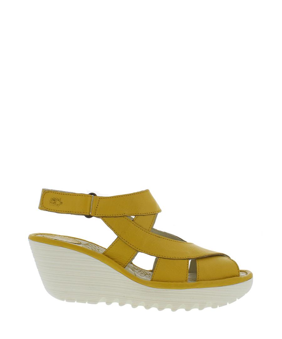 lemon leather wedge sandals Sale - fly london