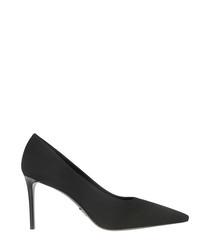 black nylon court heels