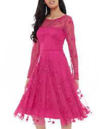 Cerise mesh embroidered midi dress
