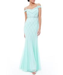 Mint cold-shoulder sequin maxi dress