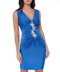 Blue leaf embellished ruched mini dress