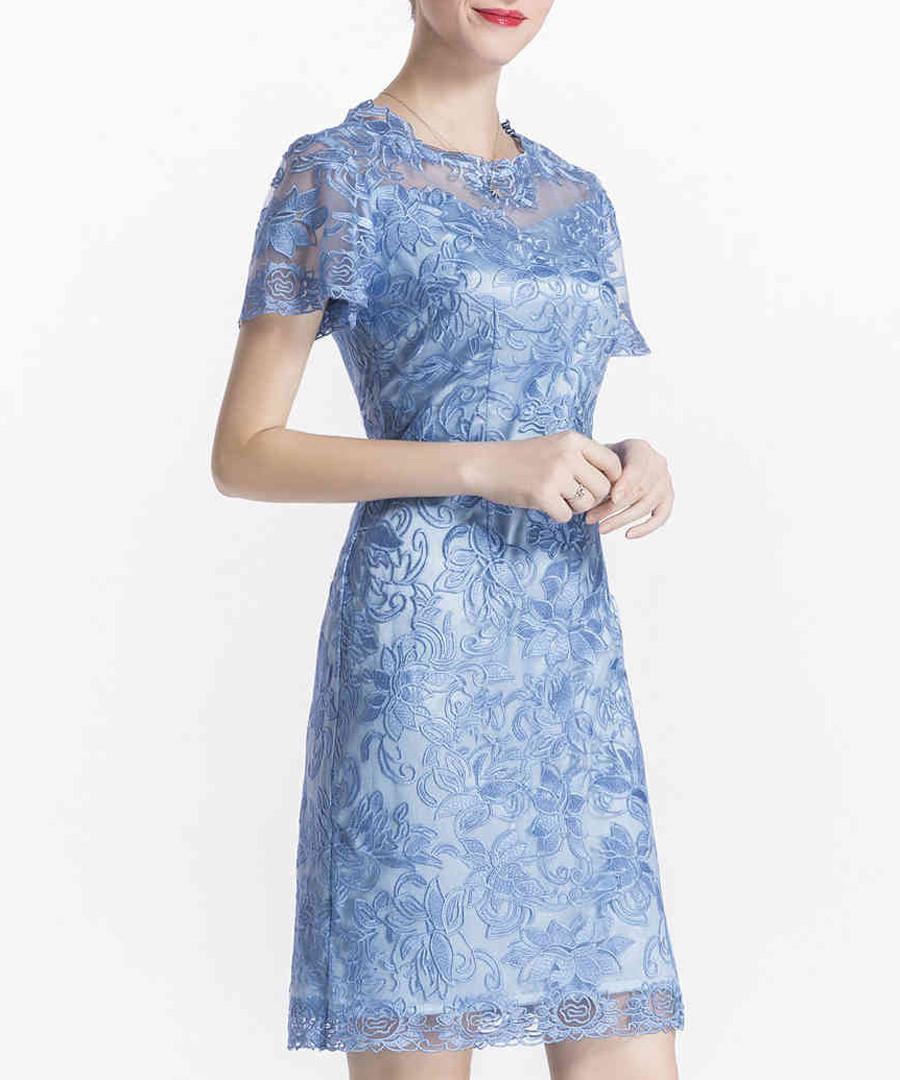 Blue lace short sleeve mini dress Sale - lanelle