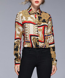 Gold & red print long sleeve shirt