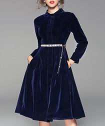 Blue velvet long sleeve midi dress