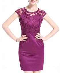 Purple lace cap sleeve mini dress