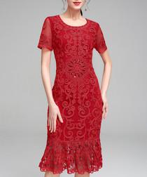 Red short sleeve lace hem dress
