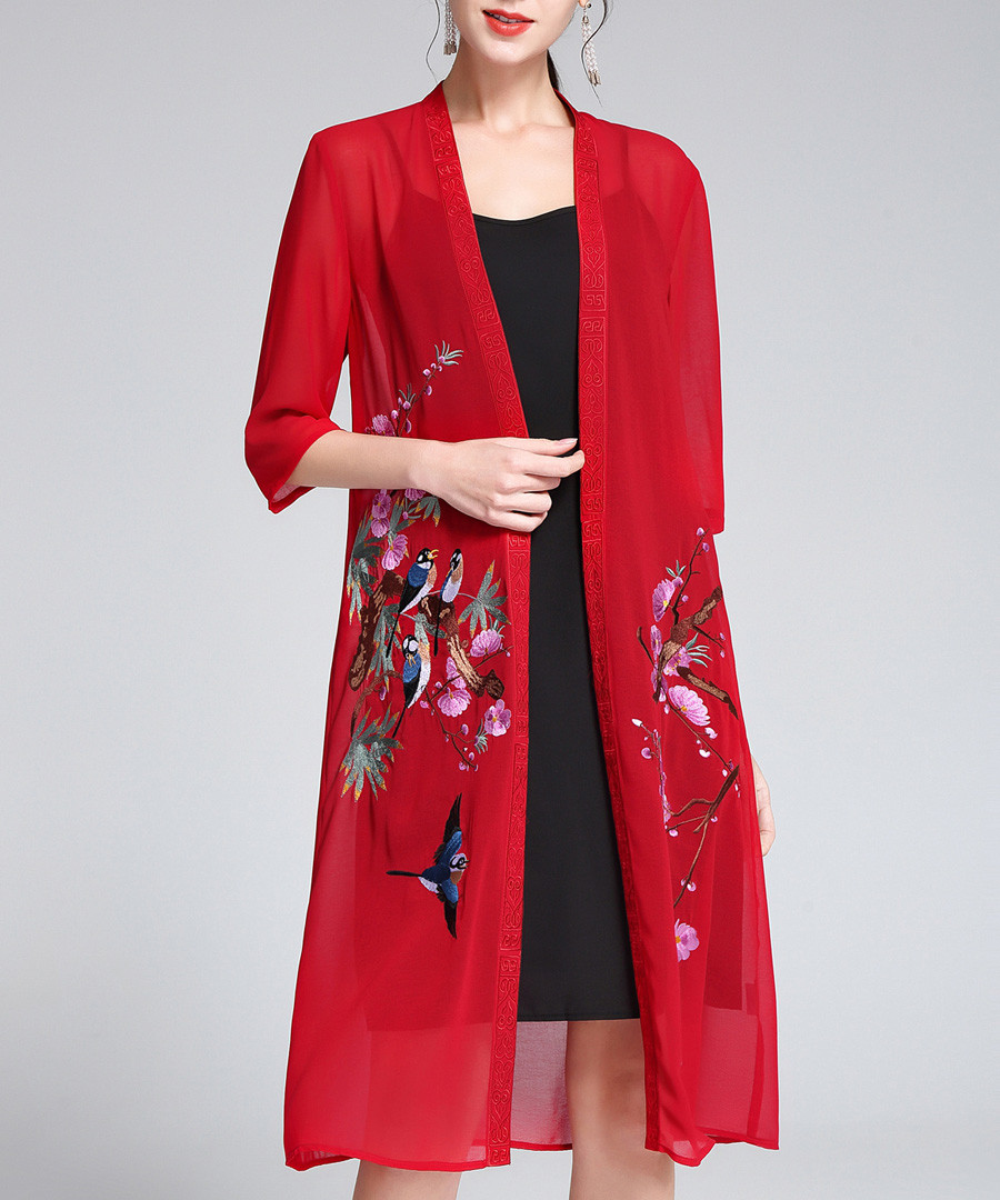 Red sheer bird embroidered cardigan Sale - lanelle