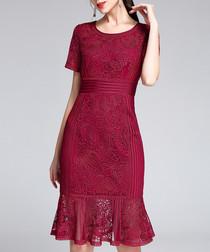 Wine short sleeve lace hem dress