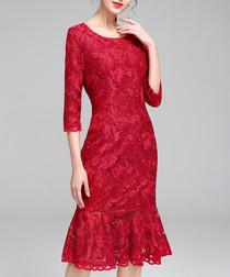 Red half-sleeve lace hem dress